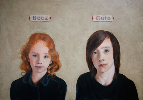 Oil painting of two children