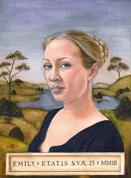 Renaissance style oil portrait of a young woman