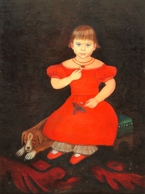 Naive style painting in oils of a young girl and her dog