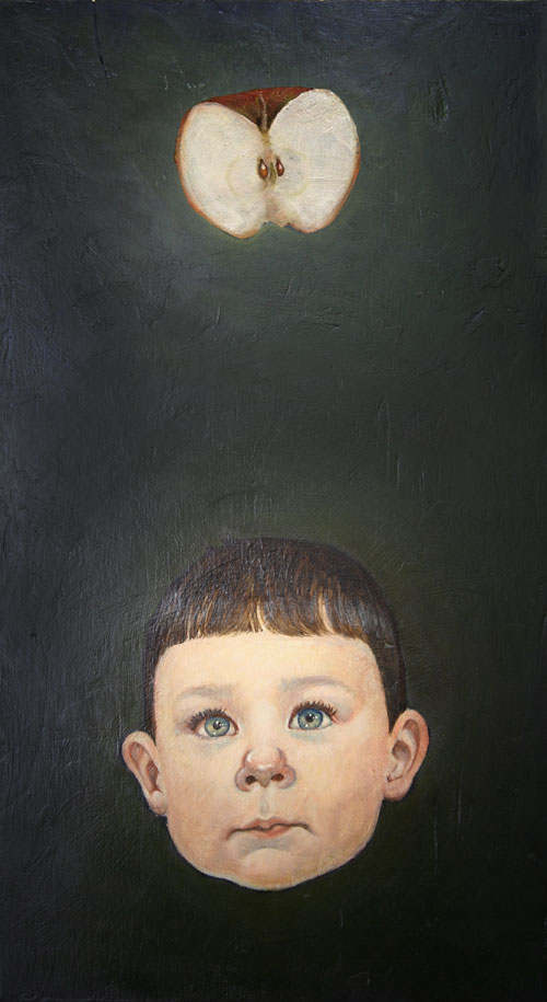 Oil portrait with apple and young boy