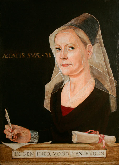 Flemish style oil portrait of a young woman