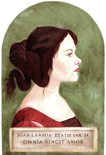 Renaissance style diptych portrait Joan