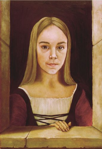 Flemish style oil portrait of a young girl