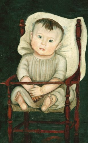 Naive style oil painting of a young boy in a chair