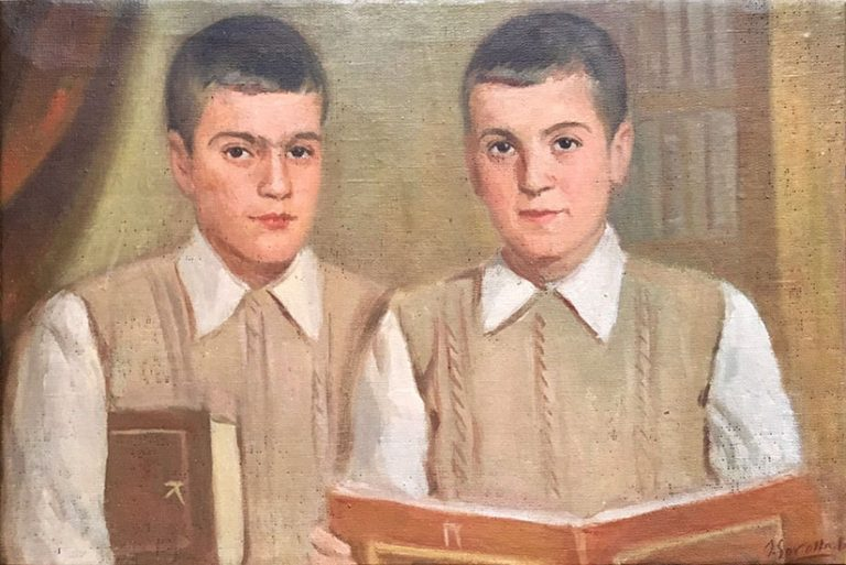 Naive portrait of two boys