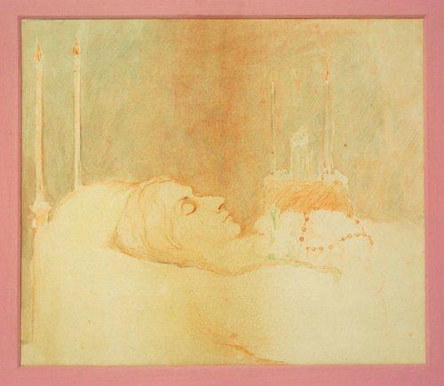 Late Victorian In Memoriam Triptych deathbed portrait