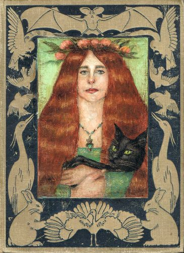 Pre-Raphaelite style portrait on vintage book cover Artist and her cat