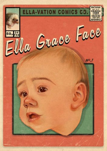 Baby portrait drawing comic book cover style