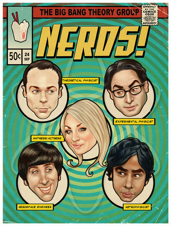 The Big Bang Theory homage Nerds! comic book cover