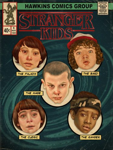 Stranger Things comic book style cover illustration